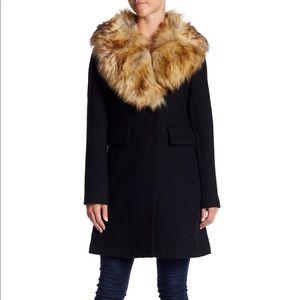 Kate Spade Faux Fur Wool Blend Coat XS